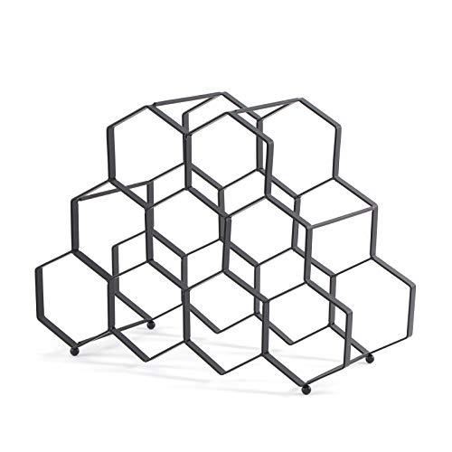 DESIGN DELIGHTS WEINREGAL WABE | Metall, 36x27x26 cm, 9 Flaschen, Schwarz | Weinflaschenhalter