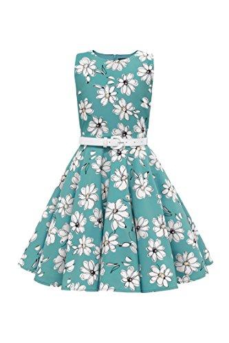 BlackButterfly Kinder 'Audrey' Vintage Daisy Kleid im 50er-Jahre-Stil (Türkis, 13-14 J / ()
