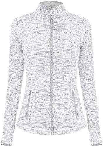 Damen Sport definieren Jacke Slim Fit Cottony-Soft Handfeel Farbe Weiß Größe S