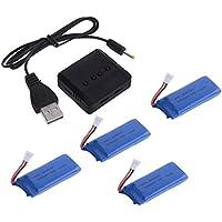 Yacool®HUBSAN Crash Pack para H107 / h107l / h107c / h107d Rc Quadcopter (4x 3.7v 500mah 25c Lipo Batería + 1x cargador de batería)