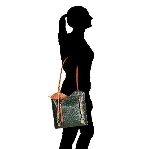 Borsa a Spalla da Donna Stampa Struzzo in Vera Pelle Made in Italy Chicca Borse 28x30x9 Cm Verde - Cuoio