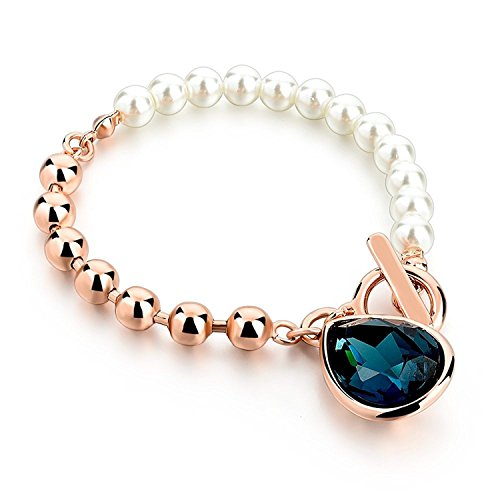 Shining Diva Fashion Jewellery Rose Gold Pearl Crystal Charm Gifts Stylish Bracelet...