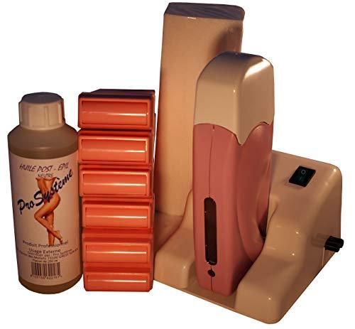 Epilwax Completa Kit Depilazione con Cera de rosa con Base Modulare - Incluye 6 Cartuchos de Cera Roll...