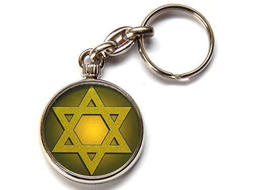 Moody Motorz Davidstern Judentum Symbol Hochwertig Chrom Schlüsselring Bild Beide Seiten Wählen Sie eine Farbe - Gelb