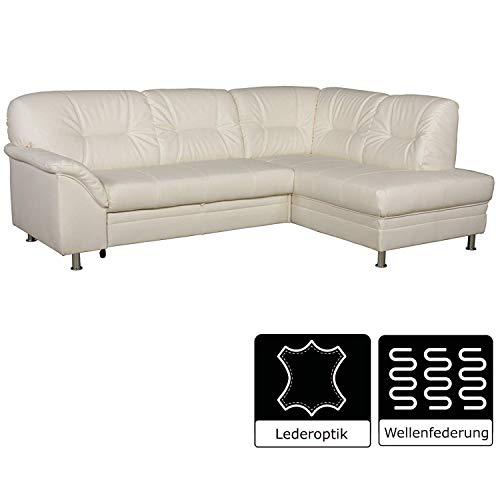 Creme-ottomane (Cavadore Ecksofa Lorcano mit Ottomane rechts / Helles Sofa im modernen Design / 237 x 89 x 168 / Kunstleder weiß)