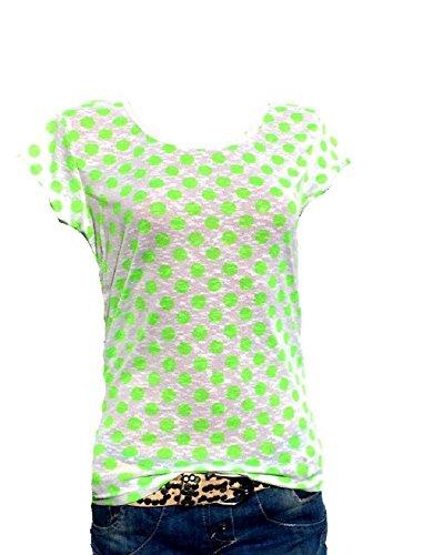 Damen T-Shirt Bluse Kurzarm Shirt Gepunktet Neon Grün Weiß Bunt Oversize Blogger #19 - Moderne Aerobic Kostüm