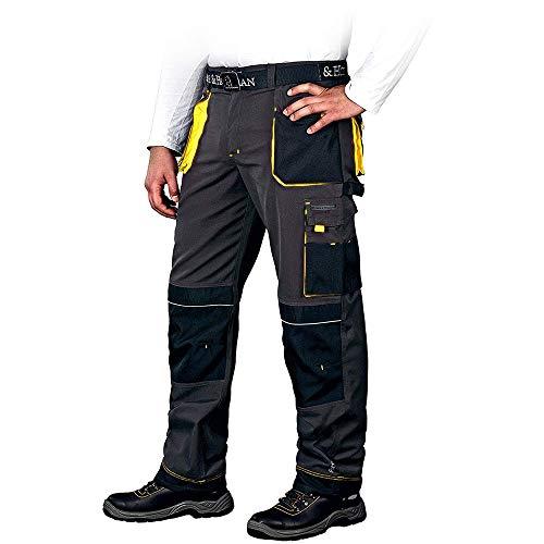 Leber&Hollman Arbeitshose für Herren - Sicherheitshose für Männer - mit Taschen für Kniepolster - Bundhose - Berufsbekleidung - Schwarz/Gelb - Größe 56
