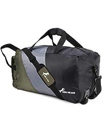 8a86094e6b Chris   Kate Black-Grey-Olive 50 litres Foldable Duffle Bag with Wheels