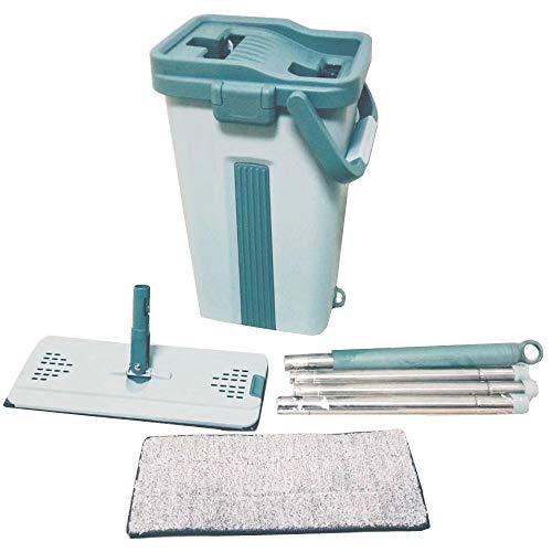 Jeblas Flache Wischmop und Eimer - Handfreie, Wringende Bodenreinigung - 2 Arten waschbar & wiederverwendbare Mikrofaser-Wischtücher enthalten Green Bucket & Flat Mop & 2 Refill Pads -