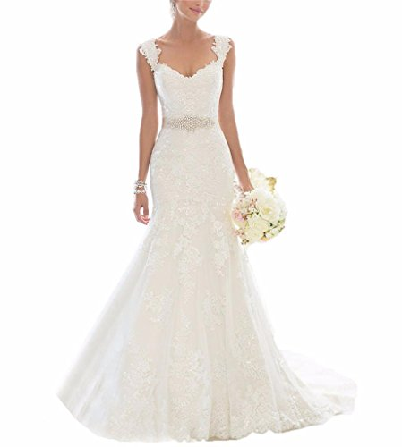 Changjie Women's Lace Wedding Dress 12 White