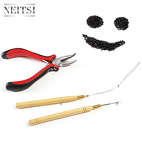 Neitsi Stick Hair Extension Remove Pliers + Pulling Hook + Bead Device Tool Kits for Silicone Micro Rings Beads Loops (with Black# Nano Ring)