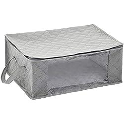 AmazonBasics Lot de 3 housses de rangement pliables avec grande fenêtre transparente et poignées de transport, cubes zippés