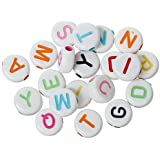 HOUSWEETY 500PCs Multi-color Round Acrylic Beads Carved Letters Alphabets 7 x7mm