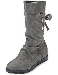 Hannea Stylish Round Toe Lace-up Buckle Flat Heel Women Half Boots