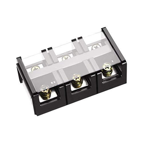 ZCHXD Barrier Terminal Block 600V 100A 3 Positions Dual Rows Screw Terminals Terminal Block, 3-position
