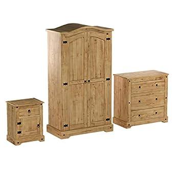 Seconique Corona Bedroom Set, Distressed Waxed Pine, 534.95x1794.95x89.95 cm