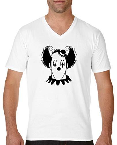Comedy Shirts - Halloween Clown - Herren V-Neck T-Shirt - Weiss/Schwarz Gr. L