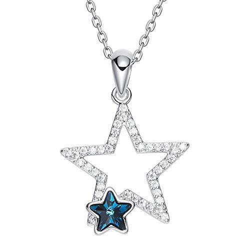 Dolove collana placcata argento per le donne doppio ciondolo stella collana da cristalli swarovski blu