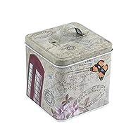 Récipient à thé de thé Boîte de rangement en fer blanc (papillon) pour boîte à cadeaux carrée de Huyizhi