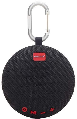 Pollix - Bluetooth Lautsprecher Outdoor mit SD u Q Motion Funktion u Freisprechfunktion, tragbar und IPX5 wasserfest (schwarz)
