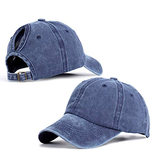 JYOHEY Baseball Cap Damen Vintage Cap im Washed Used Look Baseballkappe Pferdeschwanz Cap UV Sonnenhut Einstellbar Baumwollkappe