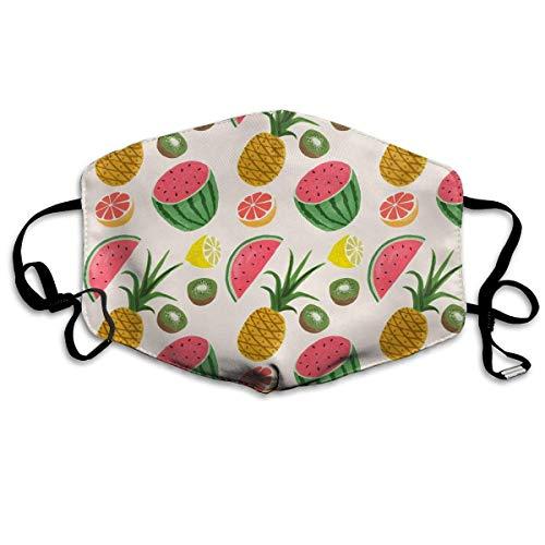 Vbnbvn Unisex Mundmaske,Wiederverwendbar Anti Staub Schutzhülle,Pineapple Watermelon Fruit Pattern Adult Creative Mouth-Masks Washable 100% Polyester Breathable Health Anti-Dust Half Face Masks -