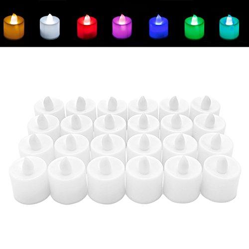 Kofun LED velas té luz titilante pilas incluidas Ideal para fiestas de Navidad decoraciones, Rainbow, 12 unidades