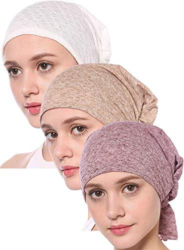 Oma Damen Mütze (UK_Stone Damen 100% Baumwolle Ethnisch Turban Mütze Unifarben Chemo Kopftücher Haarverlust Kopfbedeckung Unisex)