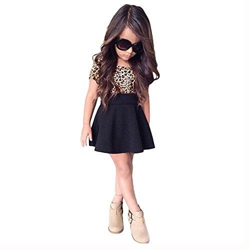 Babykleidung Honestyi Kinder Baby Mädchen Leopard Printing Short Sleeveless Kleid Kleidung (Schwarz,90-130)