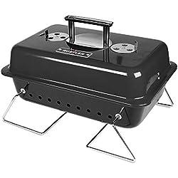 Rustler Holzkohle Picknickgrill 15 cm , schwarz emailiert , Tragbarer Grill mit Deckelthermometer, klappbaren Standfüßen & großer Grillfläche , Klappgrill für Garten, Balkon, Festival & Camping