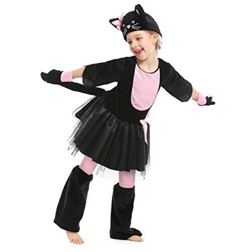 Kit Kostüm Kitty - LOLANTA Mädchen Kitty Kleid Kostüm schwarz pink Kinder Katze Kit Halloween Kostüm (122/128 (6-7 Jahre))