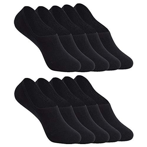 YOUCHAN Sneaker Socken Damen Herren Füßlinge 10 Paar Footies Unsichtbare Kurze No Show Socken Großes Silikonpad Anti Rutsch_Schwarz_39-42 -