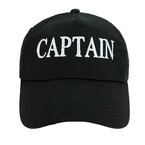 4sold Jungen Männer Frauen 100% Baumwolle Kapitän Yachting Baseball Cap Inschrift Schriftzug Sonne Sommer Hut Schwarz Weiß - (Captain's Hut)