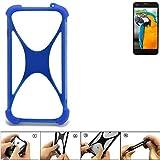 K-S-Trade Bumper Vestel V3 5040 Silikon Schutz Hülle Handyhülle Silikoncase Softcase Cover Case Stoßschutz, blau (1x)