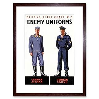 WAR WWII ALLIES ENEMY UNIFORM GERMAN AIRMAN SAILOR FRAMED ART PRINT B12X6034