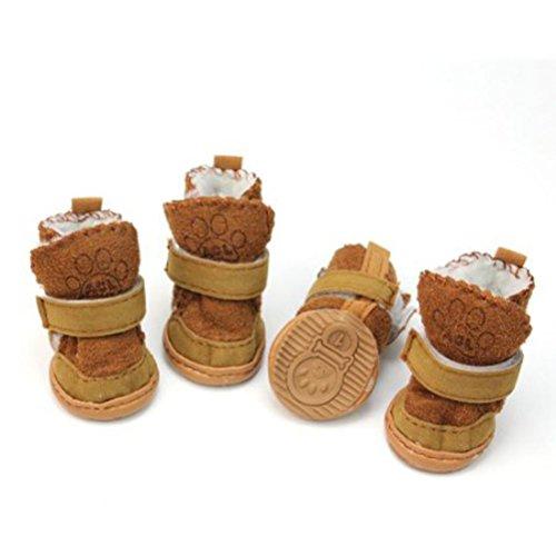 Ueetek scarpe per cani antiscivolo invernali, Stivali per animali domestici con striscia riflettente, color Caffè, 4 pezzi