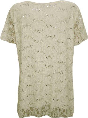 Grande pacchetto WearAll - donna pailletten gefüttert maniche partito uncinetto - 8 colori seruna - Top 40-54 Cream