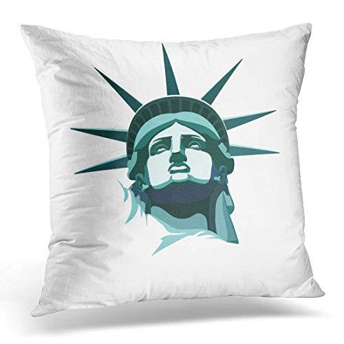 Yuerb kissenbezüge Black Icon Statue of Liberty New York Landmark Usa Bronze Portrait Drawing on White American Symbol 10 Decorative Pillow Case Home Decor Square 18x18 Inches Pillowcase