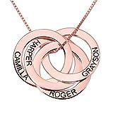 Top WHY Collar con Nombre Grabado en el Anillo Ruso Personalizado, 4 Collar con el Nombre del Anillo Ruso de la Familia para la Madre