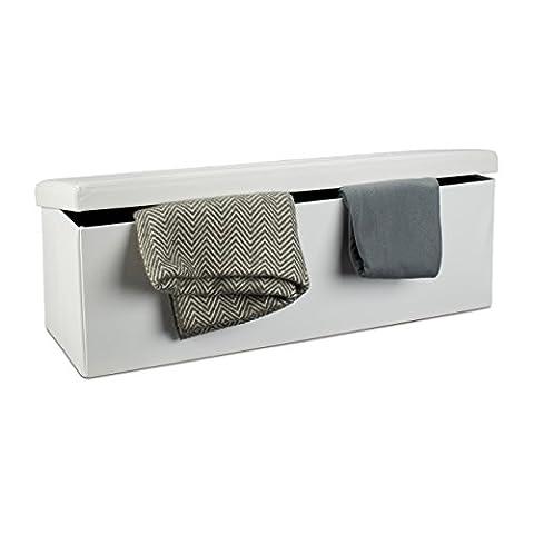 Relaxdays Tabouret pliant en similicuir pouf de rangement pliable repose-pieds de stockage rectangle 38 x 114 x 38 cm avec couvercle amovible assise table ottoman coffre chaise banquette, blanc