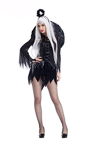 Damen Sexy Schwarze Flügel Engel Halloween Fancy Dress Kostüm (Serving Wench Sexy Kostüme)