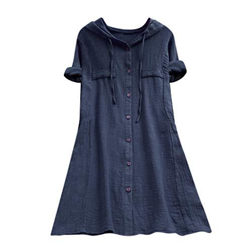 Geilisungren Damen Baumwolle Leinen T Shirt Oversized Einfarbige Knöpfe Oberteile Hoodie Frauen Casual Taschen Bluse Lose mit Kapuze Langarmshirt Hemd Tuniken -