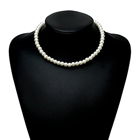 BABEYOND Round Imitation Pearl Choker Necklace Wedding Pearl Necklace for Brides White 16