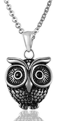Le collane del pendente Uomo Acciaio Minerva convesso gufo catena a maglia neri CZ Occhi (Maglia Degli Orecchini In Oro Orecchini)
