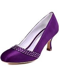 Elegantpark A0718 Mujer Talón Medio Fiesta Zapatillas Rhinestones Satén Nupcial Zapatos De Boda