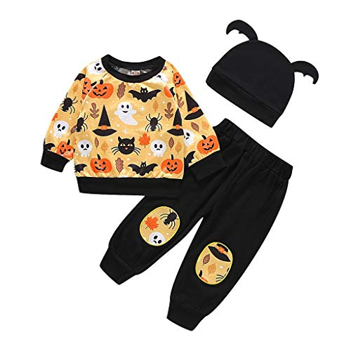 Romantic Halloween Kostüme Kinder 3tlg Baby Mädchen Jungen Bekleidungssets Kürbiskostüme Top T-Shirt + Spinnenabdruck Hosen + Hut mit Ohr Kinder Halloween Kostüme Set (Zahn Fee Kostüm Gruselig)