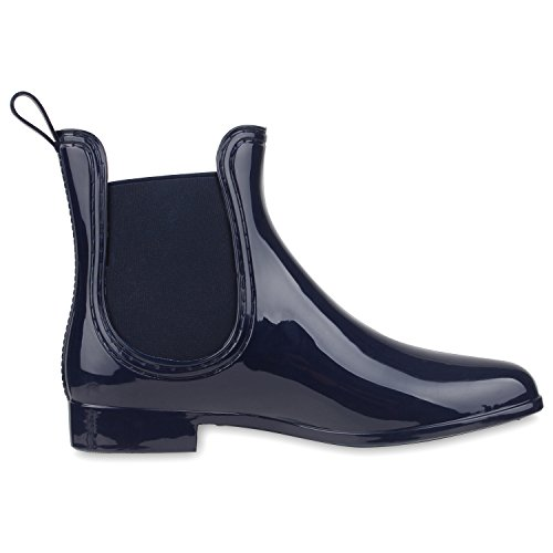 52ab5ecbb3bd Damen Lack Stiefeletten Gummistiefel Chelsea Boots Schuhe Gr. 36-41  Dunkelblau Blau ...
