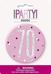 Unique Party 83536 - Insignia de cumpleaños, color rosa y plateado