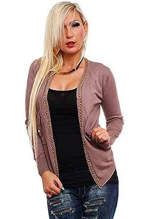 10181 Fashion4Young Damen Taillierte Jacke mit Kette Strick Cardigan verfgbar in 9 Farben (One Size (34 36 38), Braun)