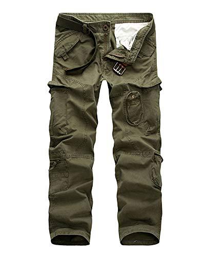 DianShaoA Herren Jogger Cargo Hose Stretch Freitzeithose Cargohose Arbeitshose Securityhose Tapered Fit Anglerhose Armee-Grün 36